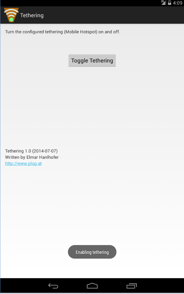 Tethering - Mobile Hotspot - Easy enable/disable - Android App